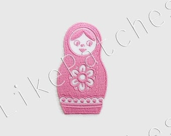 Matryoshka Russian Doll Pink Color New Sew / Iron On Patch Embroidered Applique Size 4.1cm.x7.5cm.