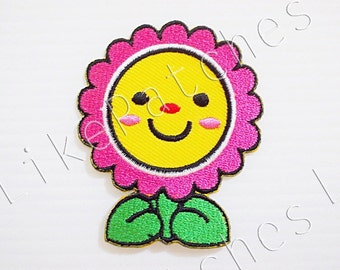 Pink Sun Flower Happy Smiley Face - Cute Cartoon New Iron On Patch Embroidered Applique Size 5.3cm.x6.3cm.