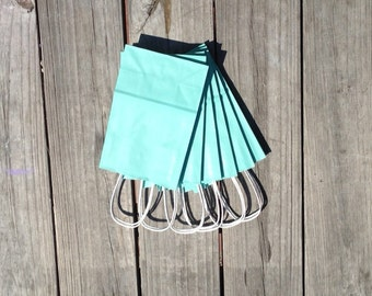 20 Pack-Turquoise Gift Bags with Handle 5.5x3.25x8.375
