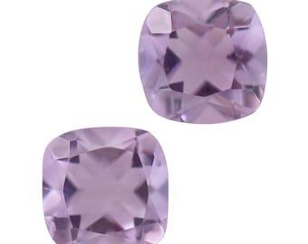 Pink Amethyst Loose Gemstones Set of 2 Cushion Cut 1A Quality 5mm TGW 0.90 cts.
