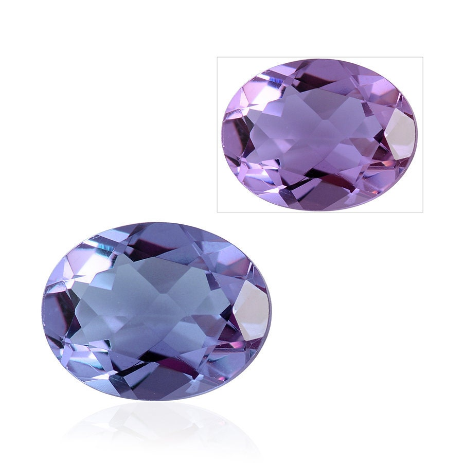 lavender alexite synthetic color change gemstone oval