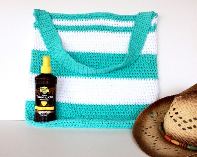 Mint and White Crochet Striped Beach Bag with Shoulder Strap