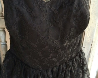 Vintage 50s black lace evening gown/ prom dress