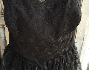 Vintage 50s black lace evening gown/ prom dress