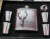 Personalized Deer Flask, Valentines Day Gift for Him, Birthday Gift for Hunter, Gift for Outdoorsman, Personalized Flask Gift Sets