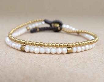 Ivory Crystal and Mini Brass Chains Bracelet/ Crystal bracelet