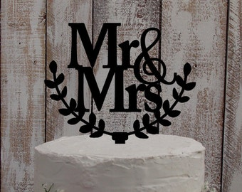"wedding cake topper Mr & Mrs ""leafs"" - wedding, cake, topper"