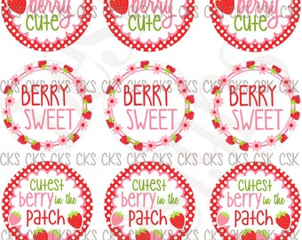 "1"" Digital Bottle Cap Sheet **INSTANT DOWNLOAD** Cute Hair Bow Sayings So Berry Sweet Strawberry"
