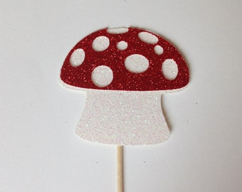 12 Toadstool Glitter Cupcake Cake Toppers - Fairy - Enchanted Forest - Fairytale - Magic