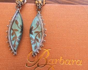 Barbara Bixby earrings sterling silver 18K gold turquoise enamel quartz crystal limited style