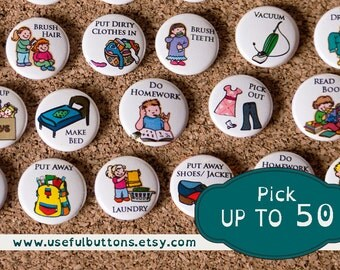 "1"" size - Pick UP TO 50 Chore Chart Magnets - Create your own set"