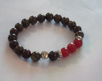 Mens Red Rubby/Bloodestone Gemstone Buddha Stretch Bracelets,Healing Bracelet
