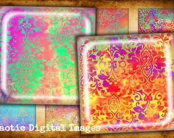 """Digital collage sheets printables downloads images - BAROQUE BACKGROUNDS - 1"""" 0.78"""" (20 mm) 1.5"""" squares cabochon making jewelry magnets"""
