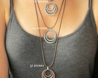 Silver Circle Necklace-Long Necklace for Women-Leather Necklace-Silver Pendant Necklace-Boho Necklaces for Women-Leather and Silver Necklace
