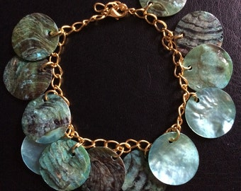 Gold and teal shells
