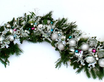 Luxury Christmas Garland - Sparkling Garland for Staircase or Mantel, Silver Blue & Hot Pink Shiny Ornaments, Sparkling Iced Branches