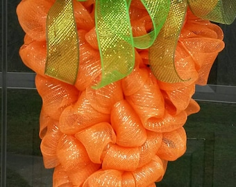 "Spring Easter Carrot Deco Mesh Ribbon 24"" Door Wreath"