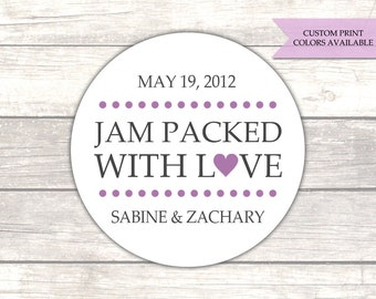 Jam packed with love stickers - Jam wedding favors - Wedding stickers - Wedding favor stickers - Wedding labels (RW002)
