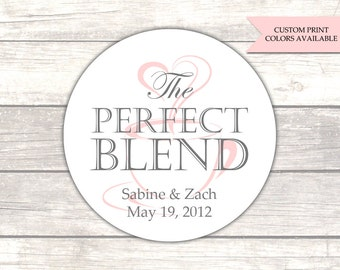 The perfect blend stickers - Coffee favors - Wedding favor stickers - Wedding labels - Tea favors (RW067)