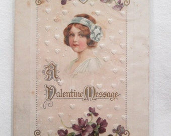 Vintage Embossed Postcard Valentine with Young Lady