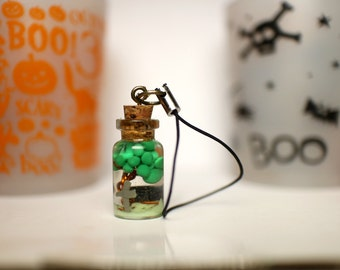 Tree and cementary in a bottle cellphone charm (Halloween exclusive) **contains glow in the dark**