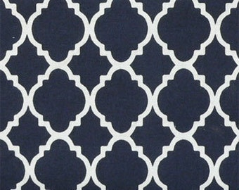 Quilting Fabric, Baby Fabric, Kids Fabric, Quartre Foil Fabric, Navy Blue/White, Childrens Fabric, Sewing Material, Yard/Half Yard/Quarter