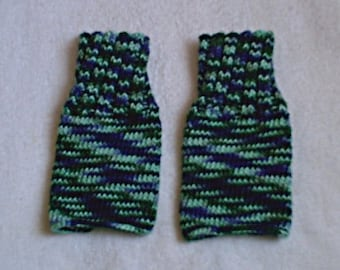 Knitted Fingerless Gloves in Waterfall Colors