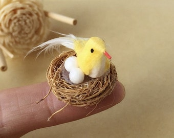 ON SALE Miniature Bird,Miniature Animal,Little Bird,Tiny Bird,Small Bird,Miniature Bird in Nest,Dolls and Miniature,Miniature Dolls,DIY,Farm