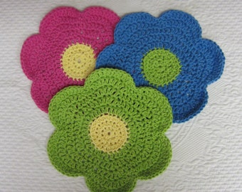 Crochet Dishcloth,Washcloth,Dish Rag,Wash Rag,Cotton Yarn,Flower Dishcloth,Set of 3,Blue, Pink,Green,Flower Shape,Kitchen Decor,Retro,Flower
