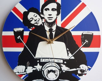 Jimmy & Steph, Lambretta Li 150 - Quadrophenia - Union Jack 12″ Vinyl Record Wall Clock, the who, mod, union jack