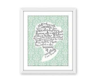 70% OFF THRU 2/6 F. Scott Fitzgerald, quote art print, I Love Her Quote, victorian silhouette, typography print, 8x10 jpg printable, love ar