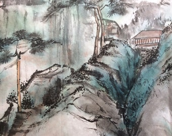 Asian art Japanese Chinese painting Original painting ink paintings landscape paintings original watercolors home decor
