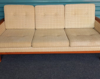 Danish sofa with teak armrests and legs, 1960s