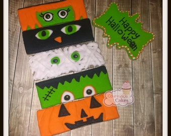 "Monster Halloween Decorated Sugar Cookies 5"" -1 dozen"