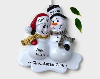 Expecting Parents Personalized Ornament - Snowman Couple - We're Expecting! - Hand Personalized Christmas Ornament