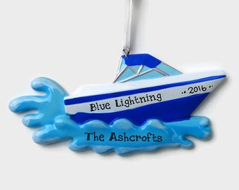 SHIPS FREE - Speed Boat Personalized Ornament - Hand Personalized Christmas Ornament