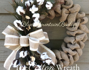 The Cotton Burlap Wreath, Cotton Wreath, Fall Wreath, Front Door Wreath, Autumn Wreath