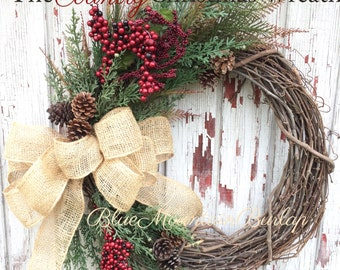 Country Christmas Grapevine Wreath, Christmas Wreath, Front Door Wreath, Country Christmas Wreath, Rustic Christmas Wreath