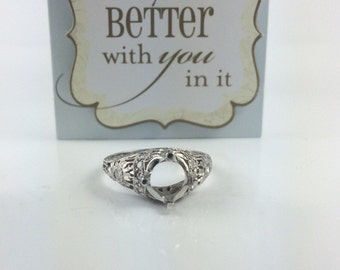 Mounting, Vintage Inspired Engagement Ring, Platinum Blank Ring Mounting, Engagement Ring Semi Mounting, Mounting For 1.25 Carat Diamond
