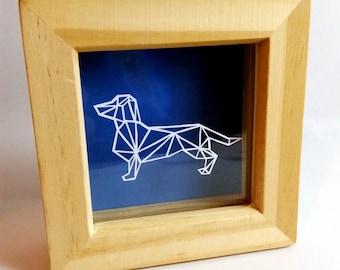 FRAMED Papercut Geometric Dachshund ~ paper cut out, wall art, paper cut, papercutting, paper cutting, papercut art, paper cut art, dacshund