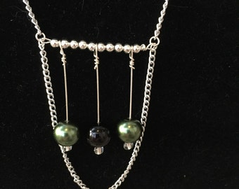 Green and black bead handmade necklace 22 inch lobster claw clasp