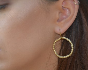 large gold hoop earrings, thick gold hoops, beaded hoops, hoop drop earrings, bridal hoop earrings, hoop dangle earrings, statement hoops