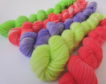 Hand dyed merino / nylon sock yarn mini skeins - set of 5 ~ Made to Make Your Mouth Water ~