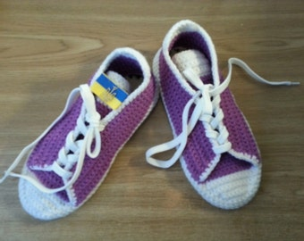 Yellow Women Adult Slippers, Converse Wool Slippers, House Crochet Shoes - 20 colours to choose from - Made to Order