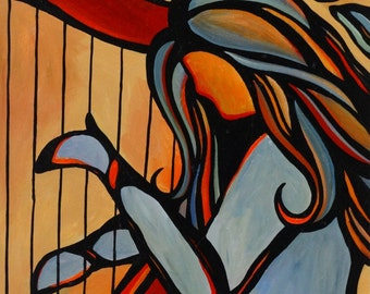 """22"""" x 28"""" Original Acrylic Painting Abstract Musician Harpist Music Harp Player by Mike Daneshi"""