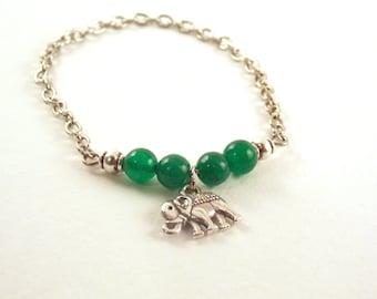 Green Bead Elephant Charm Bracelet