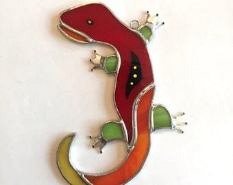 Handmade Stained Glass Gecko Suncatcher