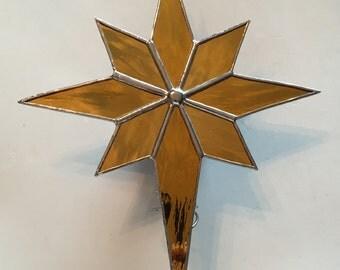 Handmade Stained Glass Gold Bethlehem Star Christmas Tree Topper