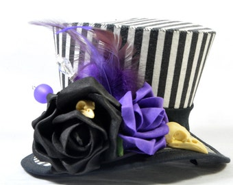 Steampunk mini Hat - stripes - black and white-purple - bird skull + roses - Fascinators - headpiece