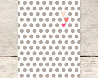 Polka dots + hearts blank note card
